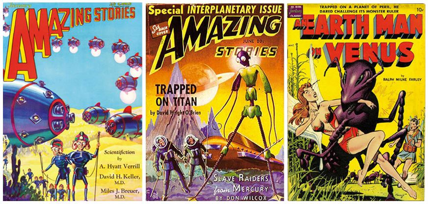 Couvertures de magazine de science fiction (1930, 1940 et 1950)
