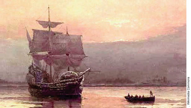 Le Mayflower peint par William Halsall (1882)