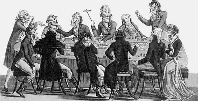 Caricature, table de roulette vers 1800