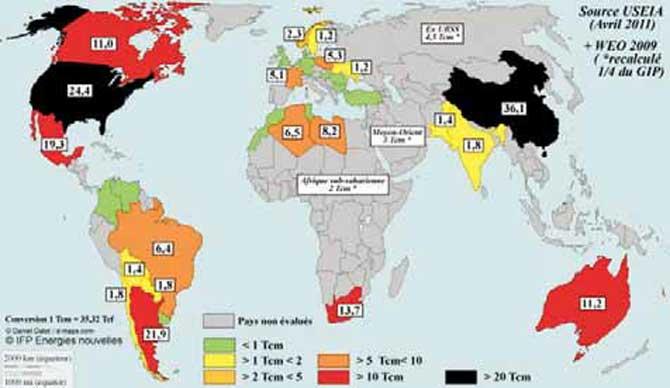 Les gaz de schiste une r alit aux tats unis une for Gaz naturel dans le monde