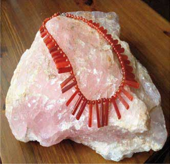 Collier cornaline en quartz rose