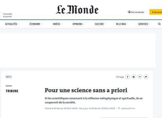 Science sans a priori ou science consciente de ses limites ?
